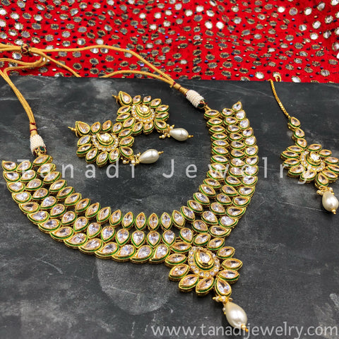 3 Line Koiree Kundan Necklace