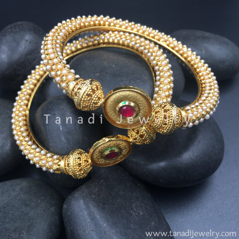 Bangles with Moti and Red Circle - Set of 2 bangles