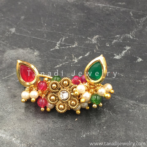 Nose Ring - Kashibai - Pearls and Flower - Pink/Green Stone