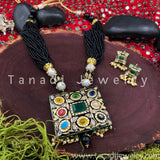Meenakari Pendant Necklace - Black Beads