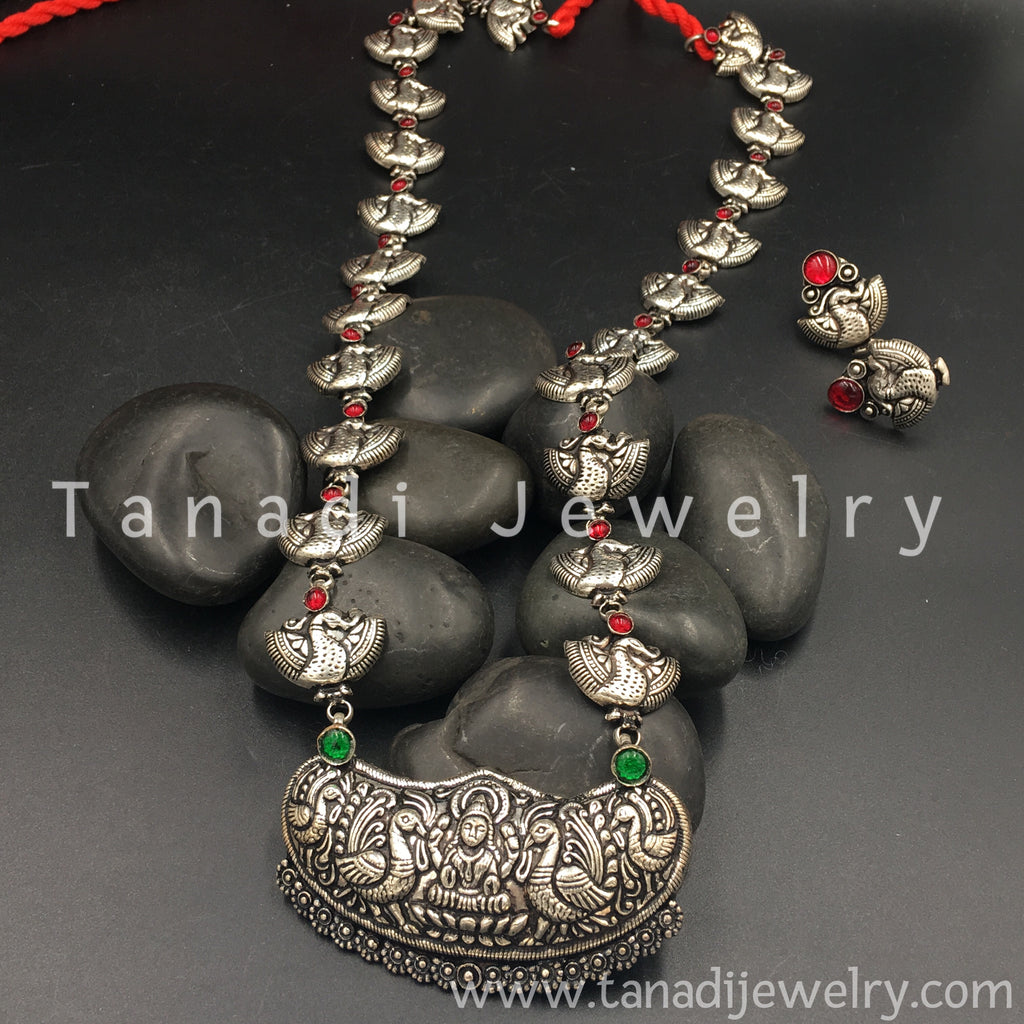 Long Oxidised Necklace - Mayur - 7