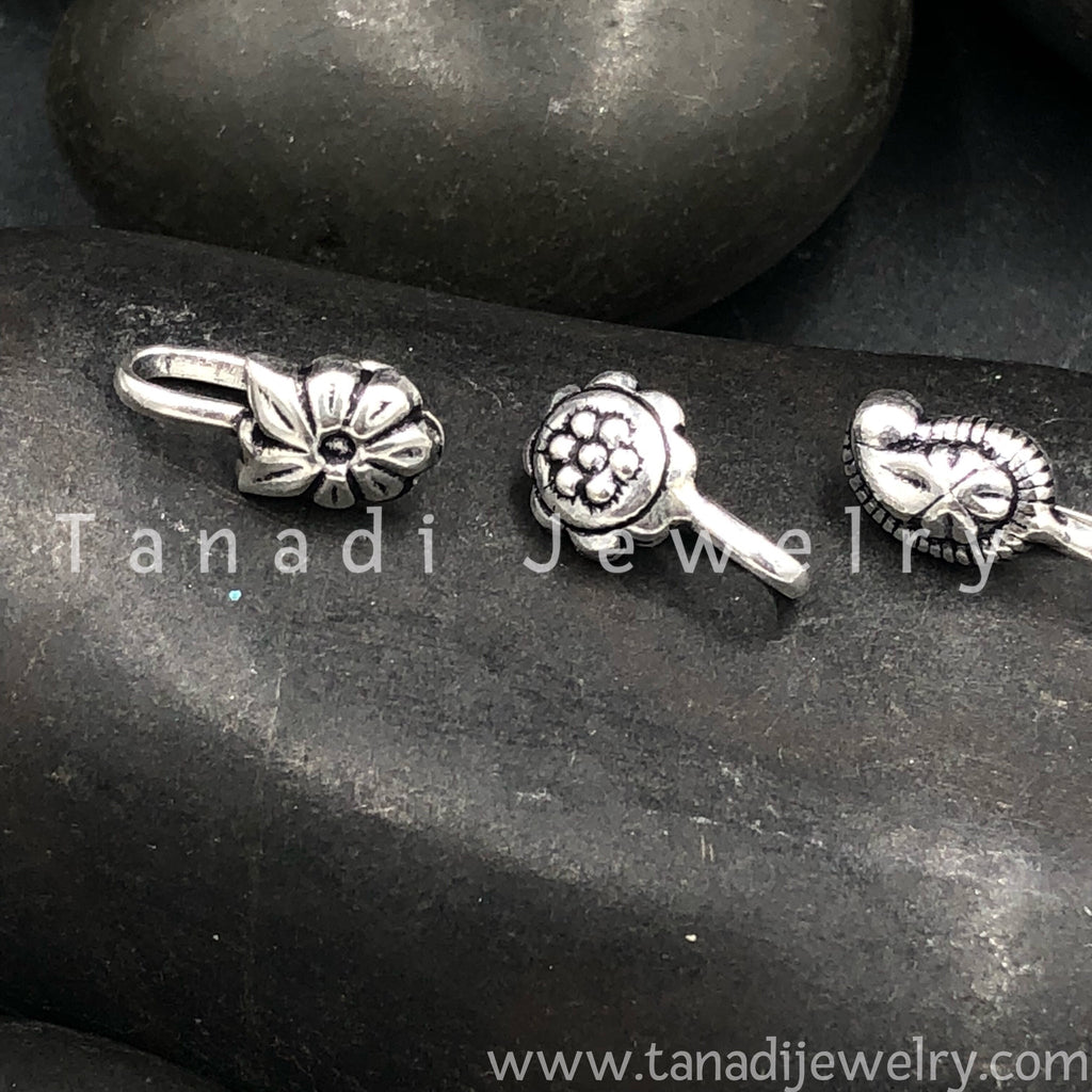 Oxidised Nose Pin Set - 10