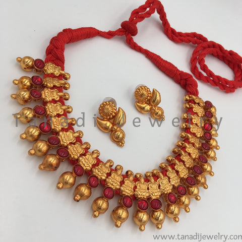 Antique Soubhagya Necklace - Red Stones