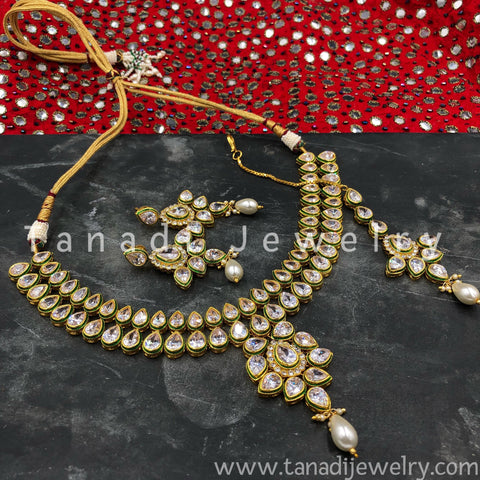 Kundan Necklace - Flower with Pearls - 3