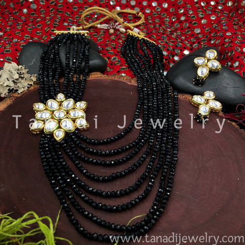 Multi String Disco beads with Kundan - Black- Side Pendant -1
