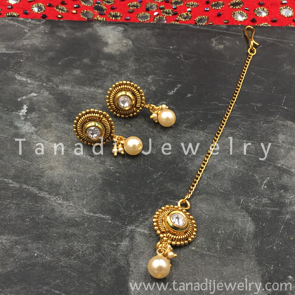 Earrings and Maang Tika Set - White