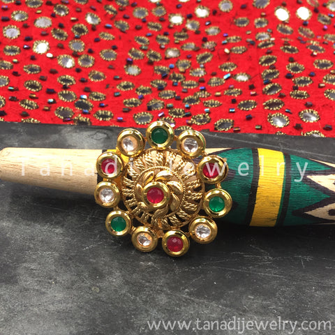 Finger Ring  - Kundan Circle with Multicolor