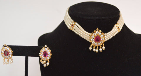 PTH - Pearl Choker with Pink Stone