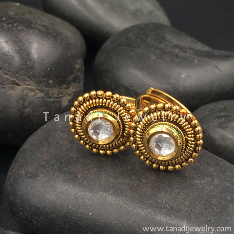 Golden Toe Rings with White Stone
