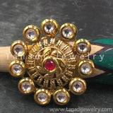 Finger Ring  - Kundan Circle with Red