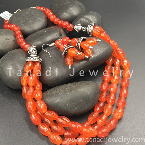 Beads Mala - Three Line - Orange