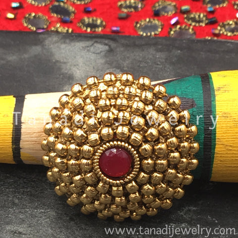 Finger Ring  - Golden with Red