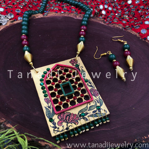 Hand Painted Wooden Necklaces - Green Beads Jharoka