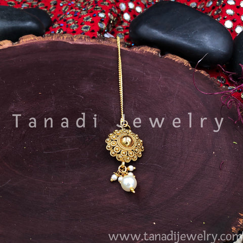 Golden Bindi - White Moti