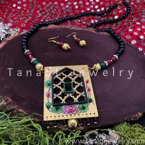 Hand Painted Wooden Necklaces - Black Beads Jharoka