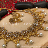 Chandrakor Flower Necklace - White Stones