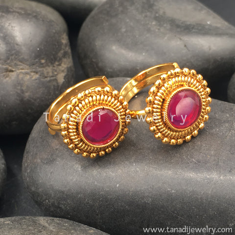 Golden Toe Rings with Red Stone