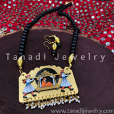 Hand Painted Wooden Necklaces - Black Beads Doli - White bead cluster