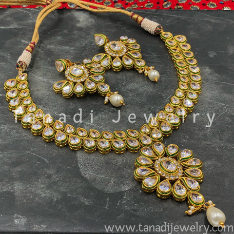 Kundan Necklace - Flower with Pearls - 2