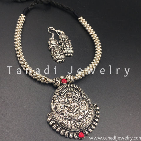Oxidised Thusshi Necklace - Ajanta - Red