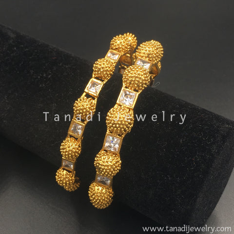Moti balls and White square stone bangles