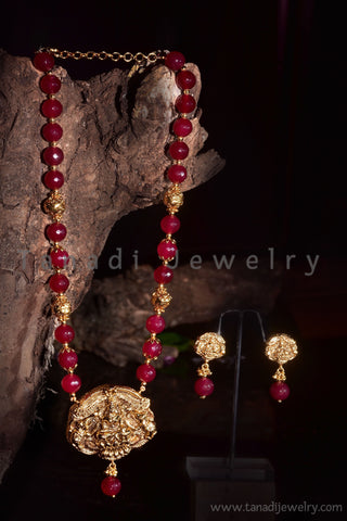 Red Stones Mala with Temple Pendant