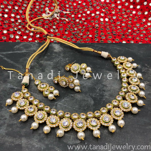 Kundan Flower Necklace with White Stones