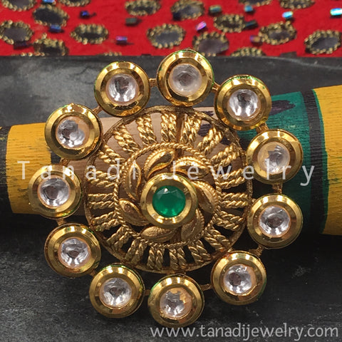 Finger Ring  - Kundan Circle with Green