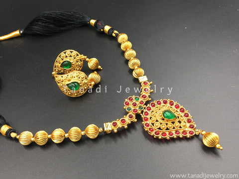 Mangalsutra - Black Thread with red/Green Stones