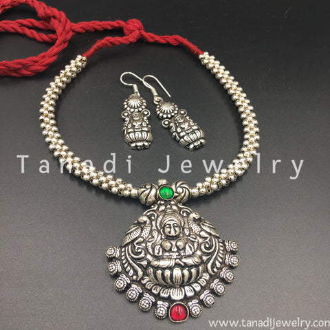 Oxidised Thusshi Necklace - Vaishnavi - Pink/Green