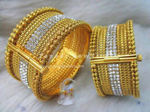 Kada with 3 line White stones - Size 2-6 - Sold Single Piece