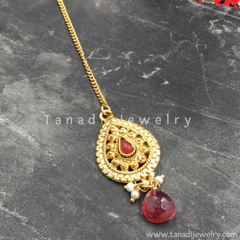 Golden Bindi Pearl Shape - Red