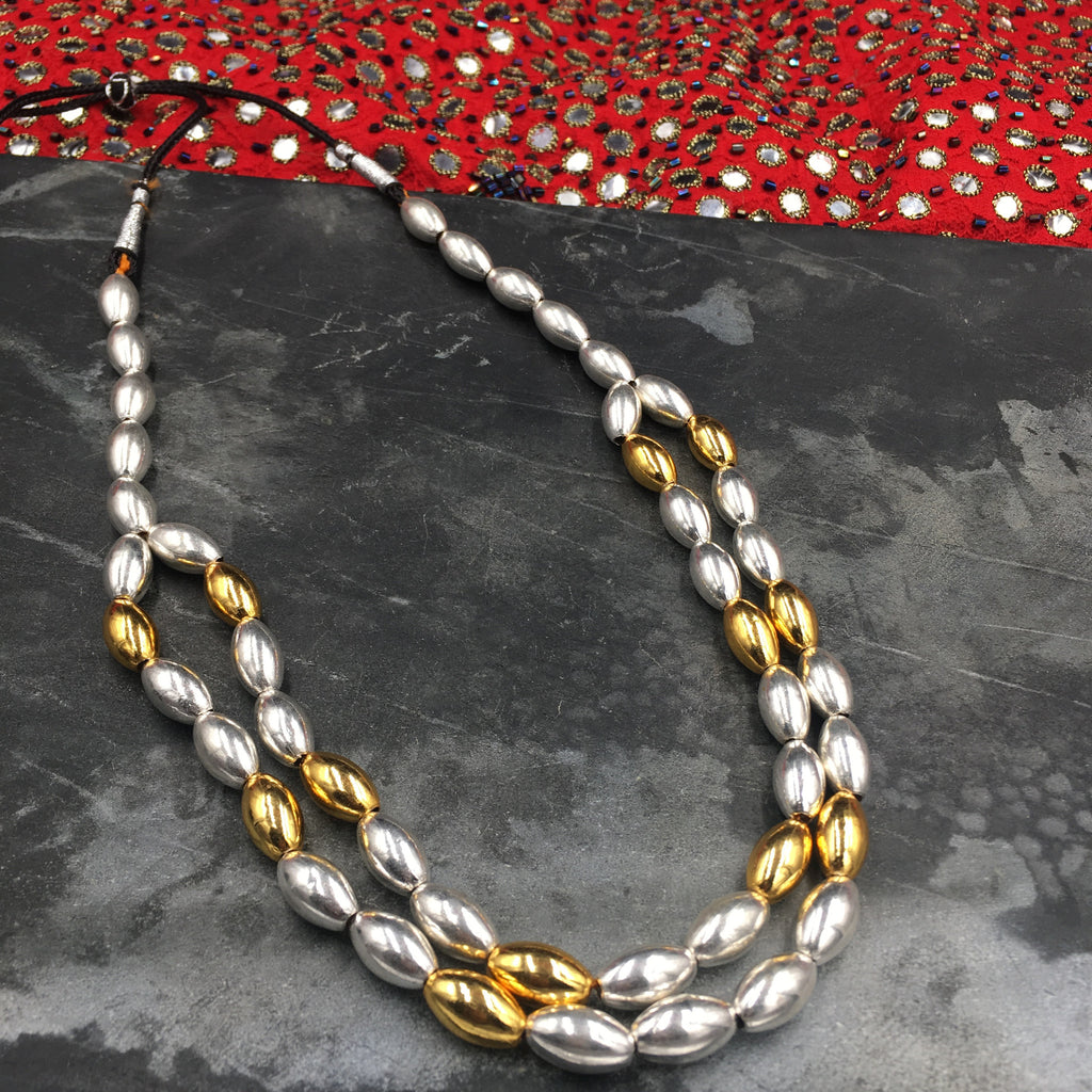 PTH - Bormaal with Silver and Golden beads - Double Line