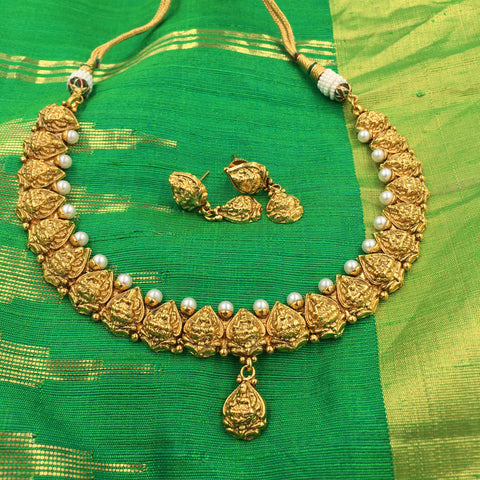 Temple Design Necklace with White Moti