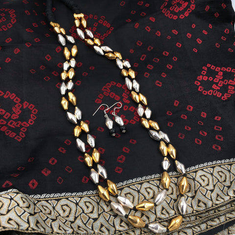 PTH - Bormaal with Silver and Golden beads - Double Line in black thread