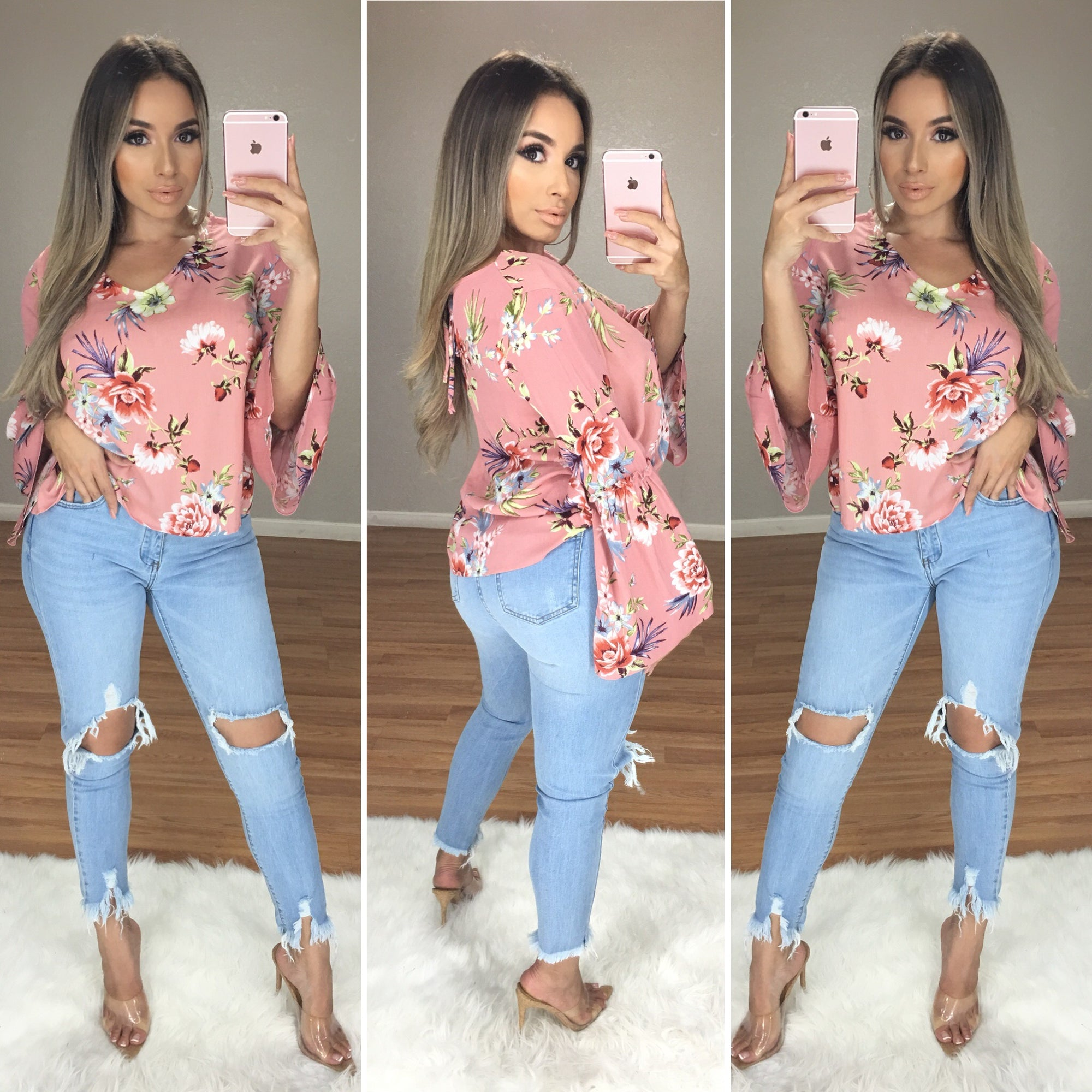 Wait For It Floral Top (Blush Pink)