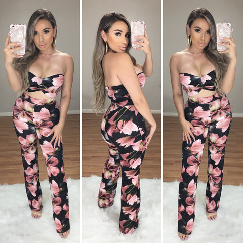 Keep a Secret 2PC Floral Set (Black)