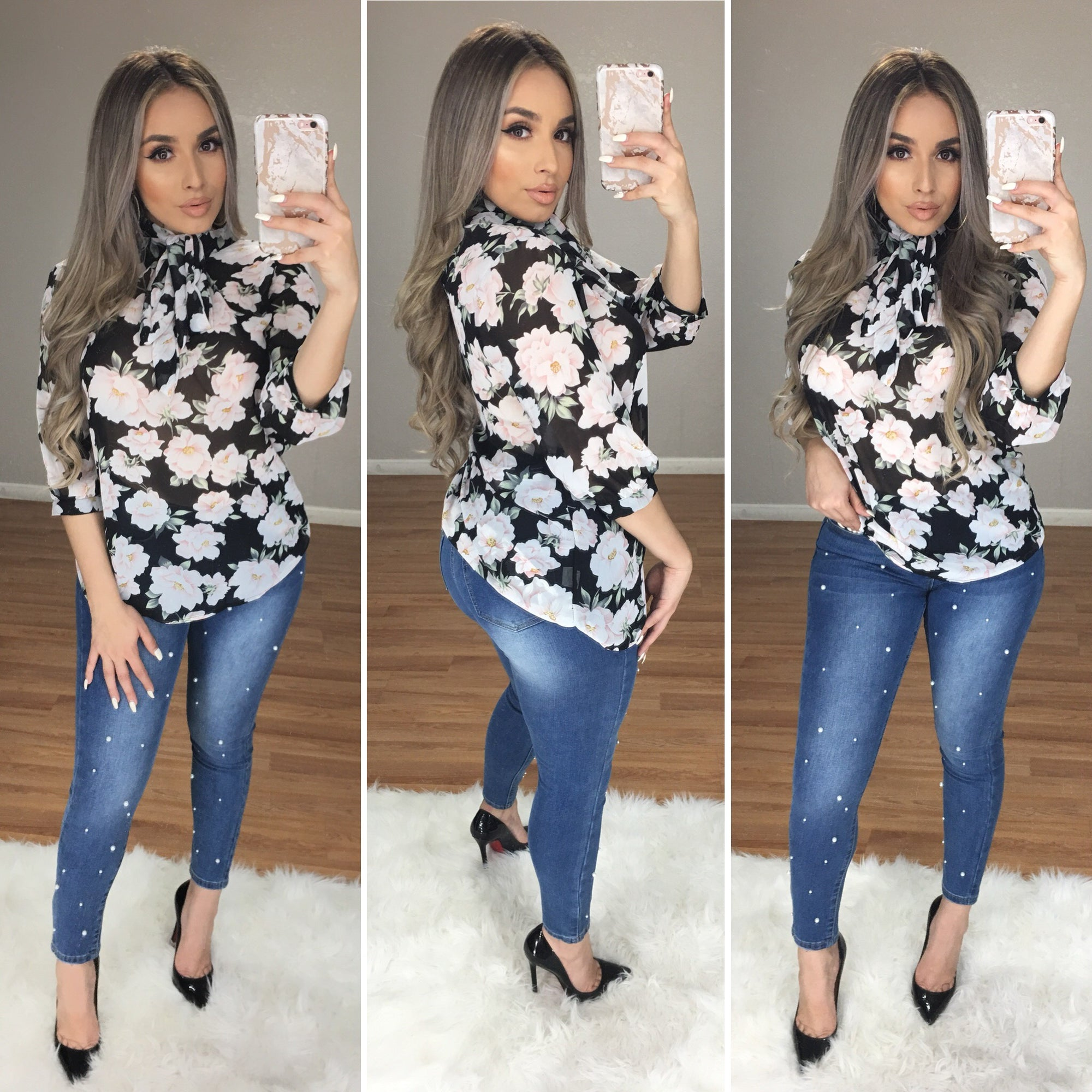 Brielle Floral Bow-Tie Top