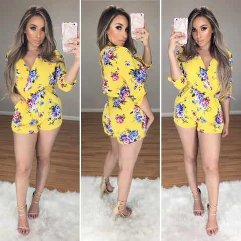 100 Degree Floral Romper (Yellow)