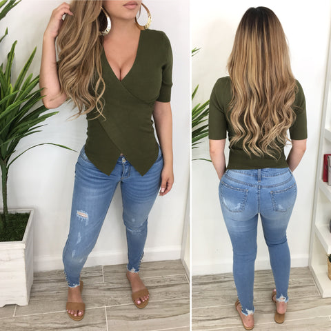 Cynthia Cross-Over Top (Olive)