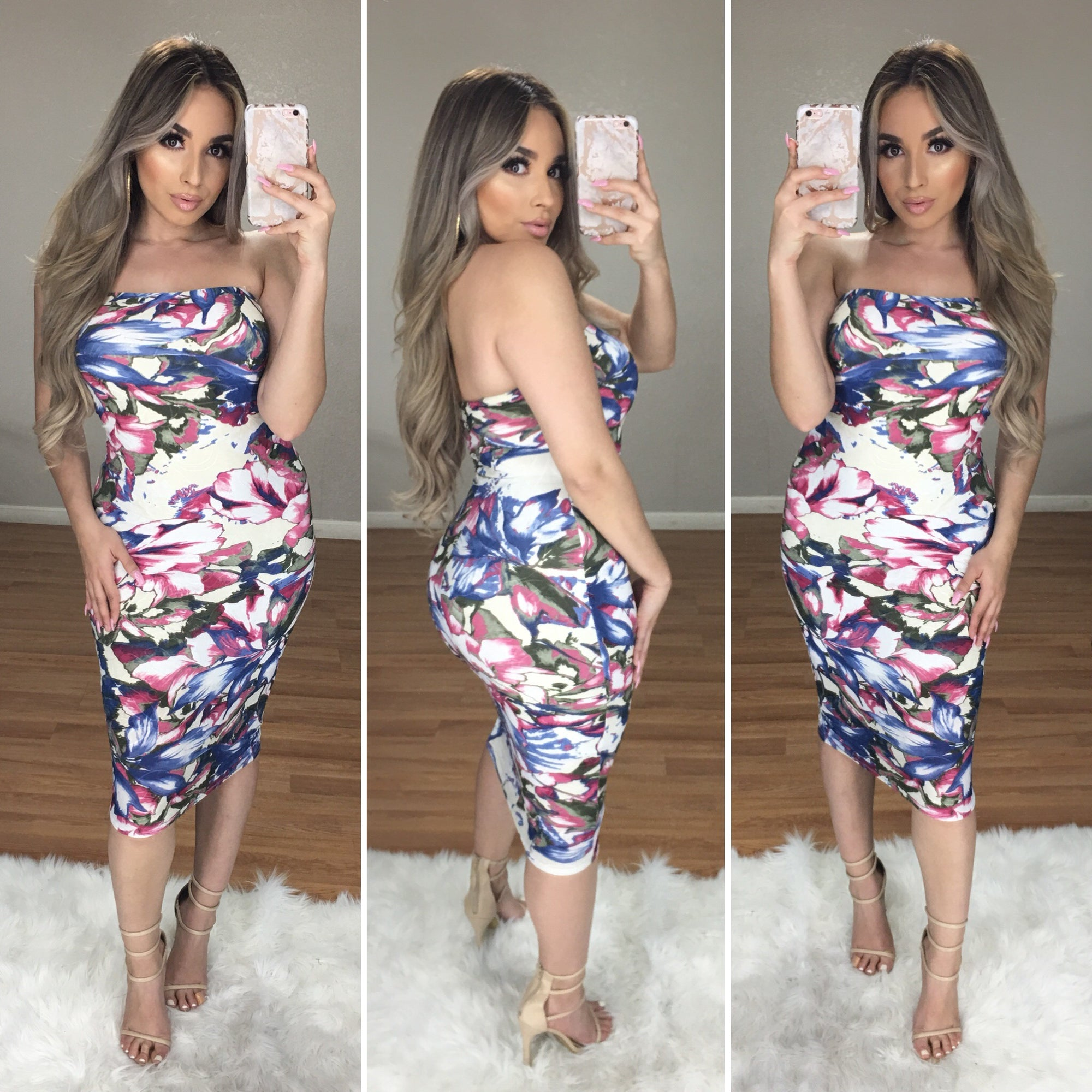 Roslyn Strapless Midi Dress
