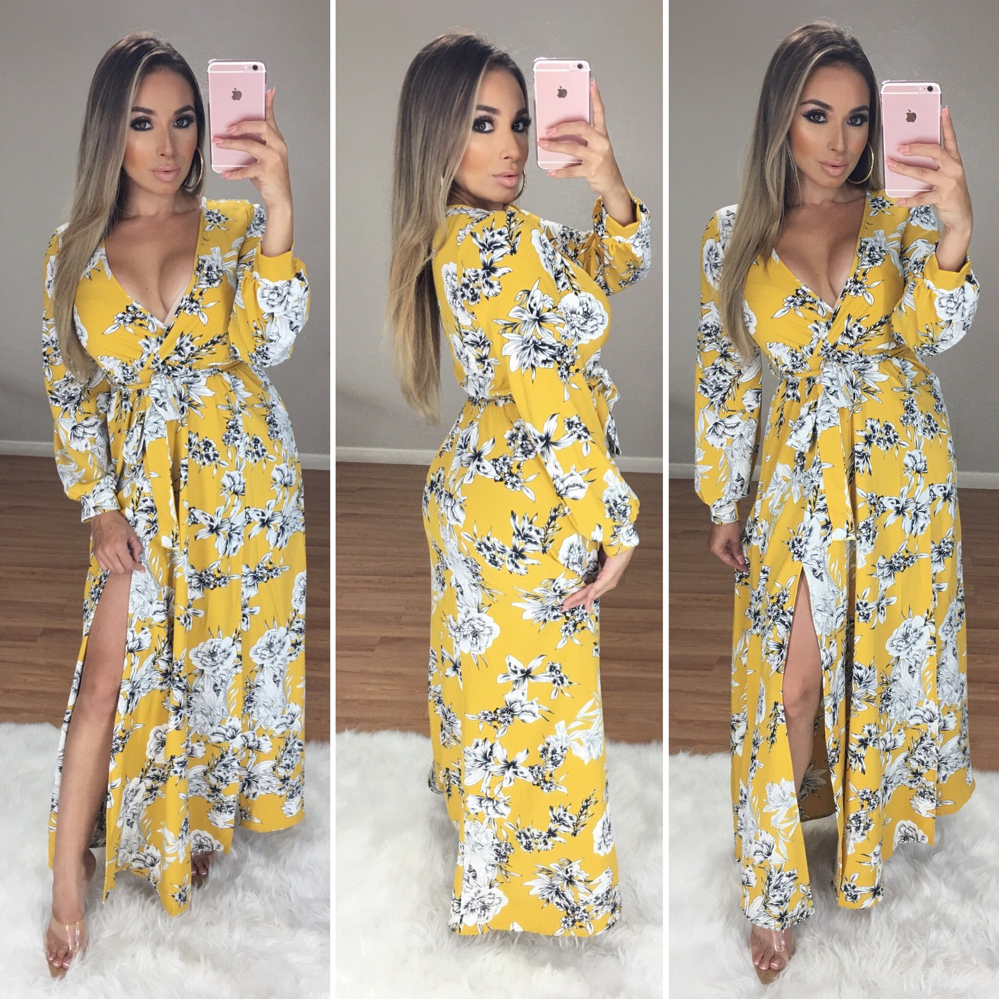 Surreal Floral Maxi Dress (Mustard)
