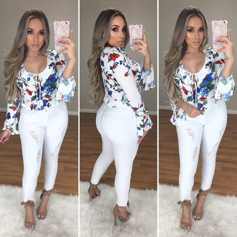 Best in Floral Top (White/Floral)