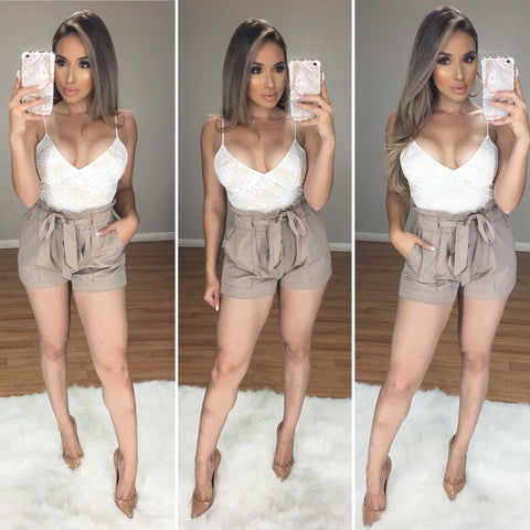 Boss Babe High Waist Shorts (Khaki)
