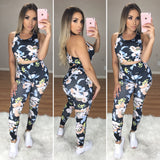 Floral 2PC Active Set (Black Floral Set)