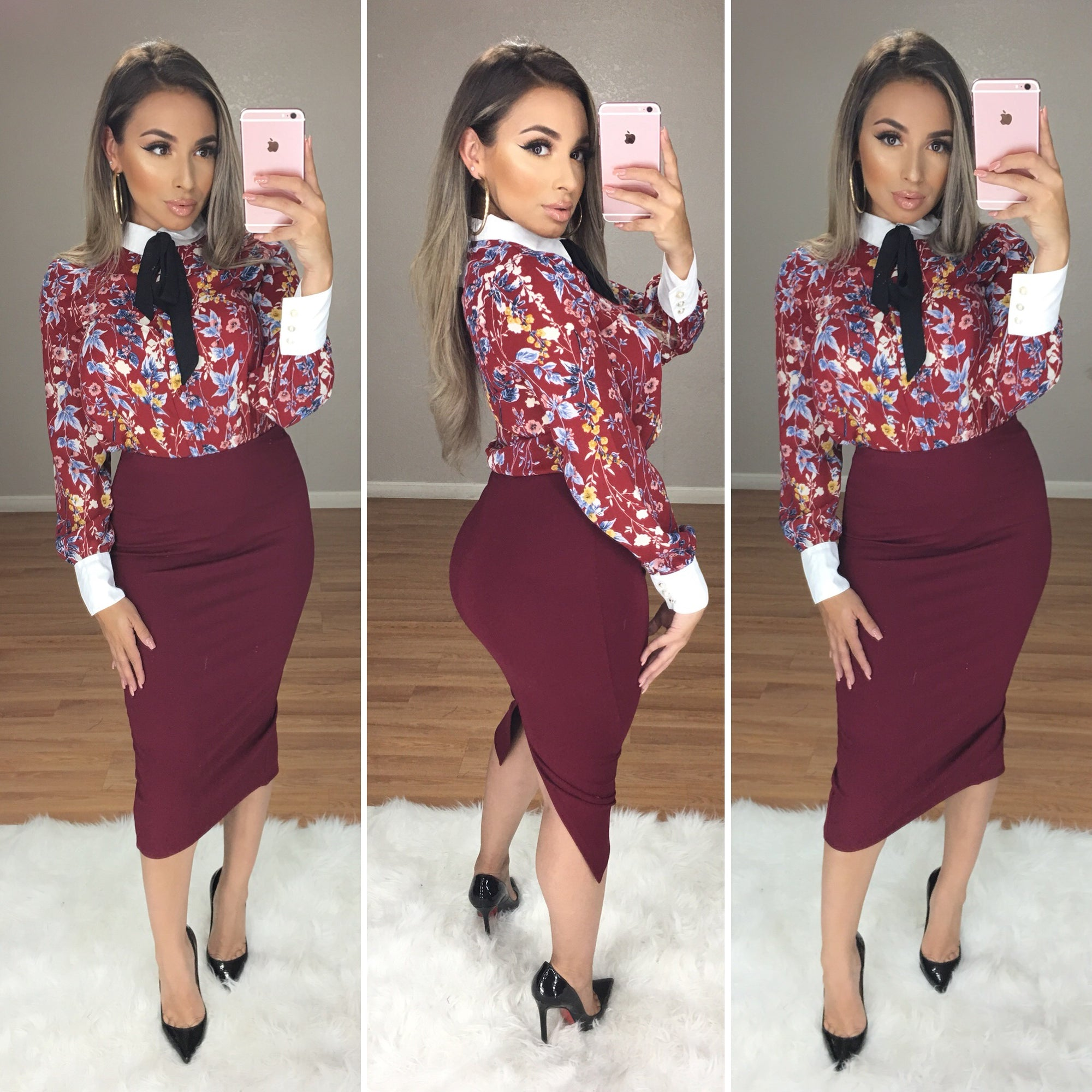 Alexa Keep it High Waist Couture Skirt (Burgundy)