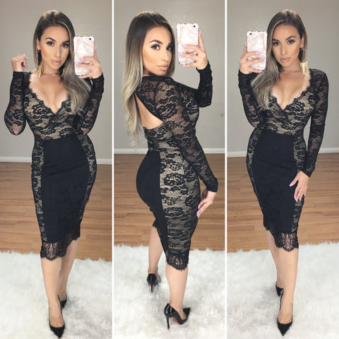 Madden Couture Lace Midi Dress