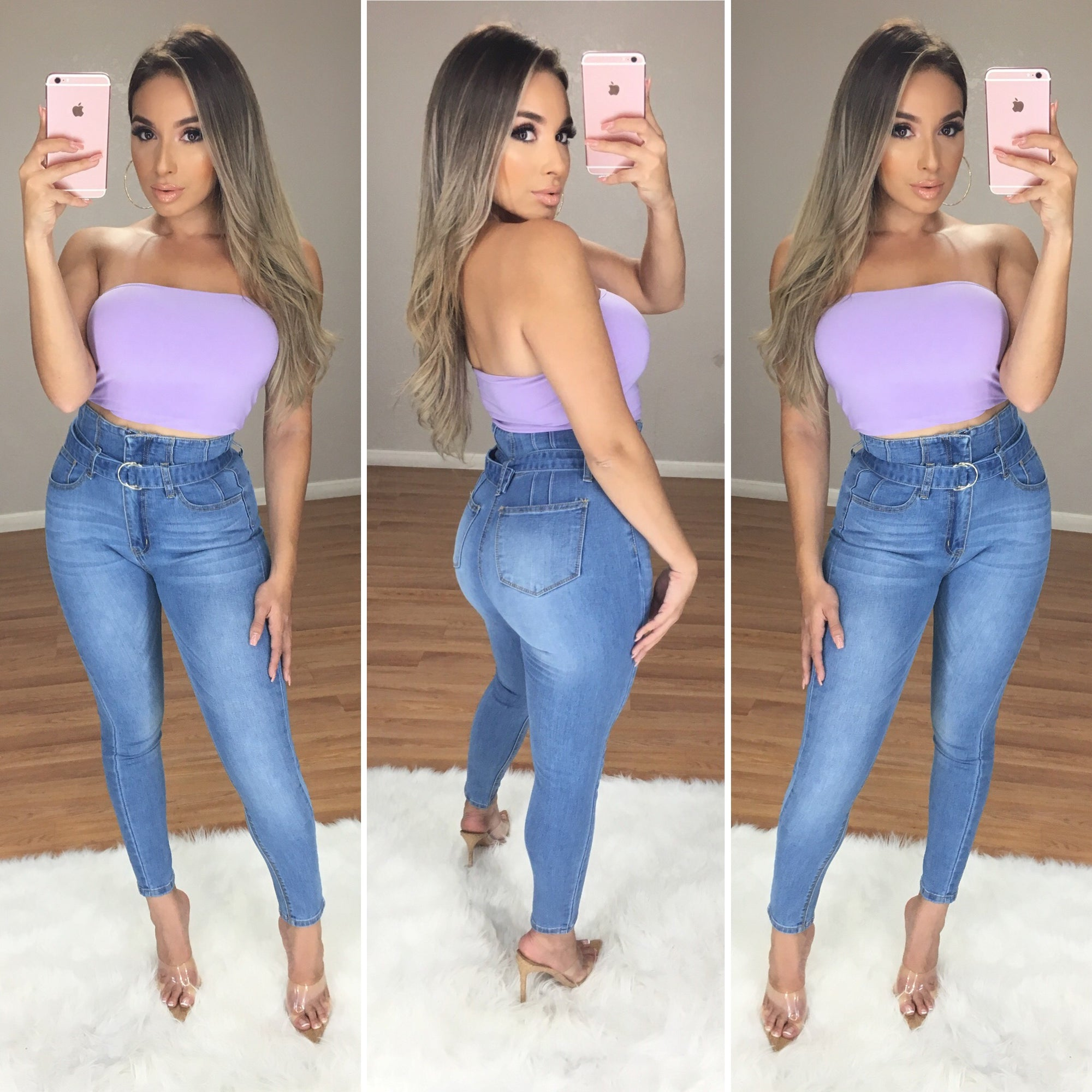 Crop Me In Strapless Crop Top (Lilac)