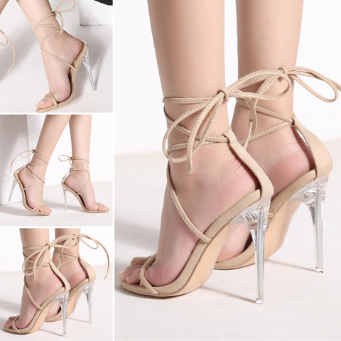 Wrap Her Up Heels (Beige Suede)
