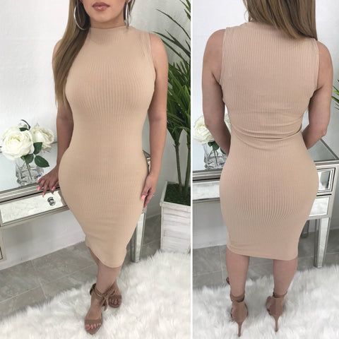 Alicia Ribbed Midi Dress (Khaki)